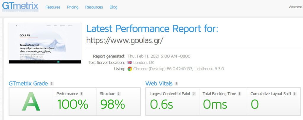 Ανακατασκευή ιστοσελίδας goulas.gr - Επιδόσεις